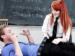 Redheaded schoolgirl Krystal gets hard..